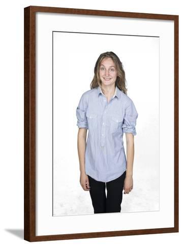 Self Portrait of Smiling Woman-Bojan Brecelj-Framed Art Print