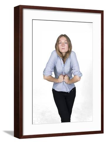 Woman with Hands on Stomach-Bojan Brecelj-Framed Art Print