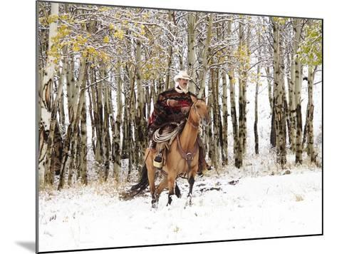 Cowboys Riding in Autumn Aspens with a Fresh Snowfall-Terry Eggers-Mounted Photographic Print