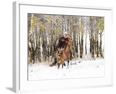 Cowboys Riding in Autumn Aspens with a Fresh Snowfall-Terry Eggers-Framed Art Print