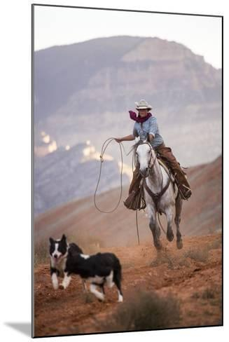 Cowgirl at Full Gallop with Cowdogs Leading Way-Terry Eggers-Mounted Photographic Print
