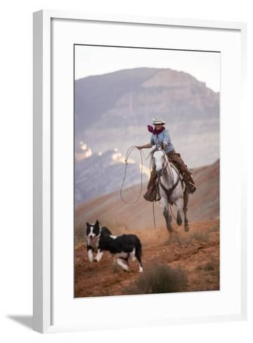 Cowgirl at Full Gallop with Cowdogs Leading Way-Terry Eggers-Framed Art Print