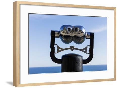 Binoculars Overlooking Mediterranean Sea in Vernazza, Cinque Terre, Italy-Paul Souders-Framed Art Print