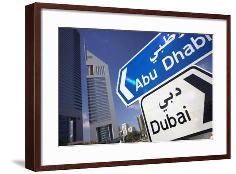 Direction Signs on Sheikh Zayed Road in Dubai-Jon Hicks-Framed Art Print