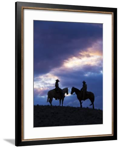 Cowboys in Silouette with Sunset-Terry Eggers-Framed Art Print