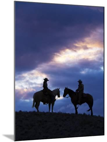 Cowboys in Silouette with Sunset-Terry Eggers-Mounted Photographic Print