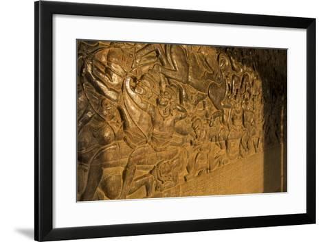 Stone Carvings at Angkor Wat, Cambodia-Paul Souders-Framed Art Print