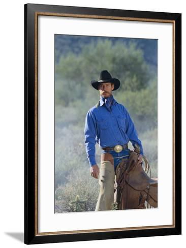 Cowboy with His Saddle-DLILLC-Framed Art Print