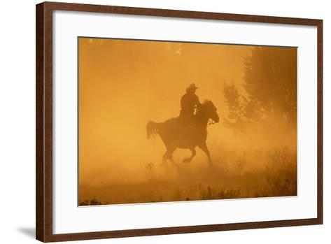 Cowgirl Riding in the Dust-DLILLC-Framed Art Print