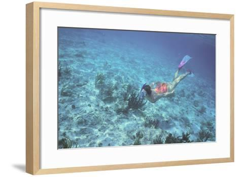 Woman Swimming in the Ocean-DLILLC-Framed Art Print