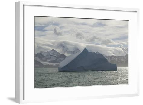 Iceberg with Mountain Range in Background-DLILLC-Framed Art Print