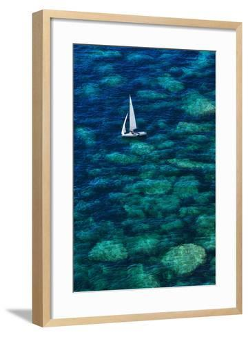 Dinghy off Bonifacio-Jon Hicks-Framed Art Print