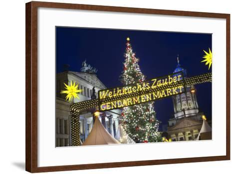 Lighted Sign at Gendarmenmarkt Christmas Market-Jon Hicks-Framed Art Print