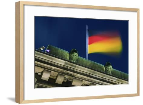 German Flag Flying from the Reichstag-Jon Hicks-Framed Art Print