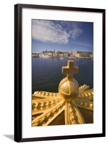 An Ornamental Crown of the Skeppsholmsbron, with Gamla Stan across the Water-Jon Hicks-Framed Art Print