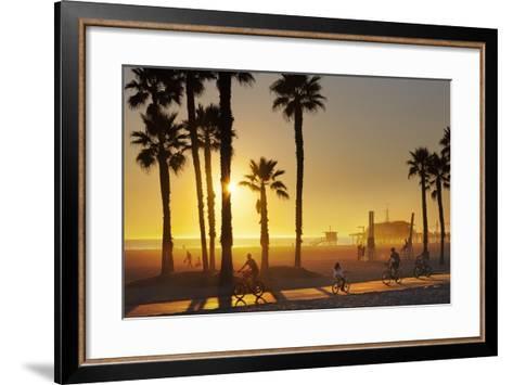 The South Bay Bicycle Trail at Sun Set.-Jon Hicks-Framed Art Print