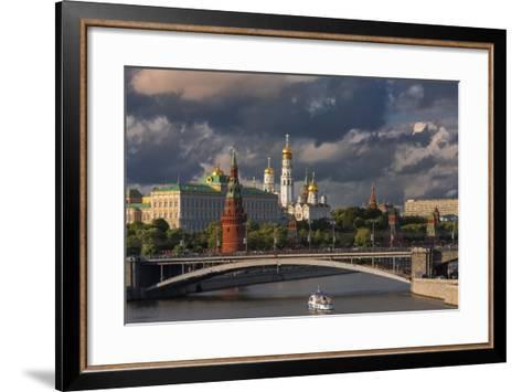 The Kremlin and Moscow River.-Jon Hicks-Framed Art Print