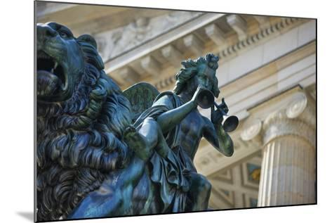 Detail of Statue of a Piper Riding a Lion outside the Konzerthaus-Jon Hicks-Mounted Photographic Print