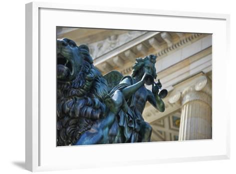 Detail of Statue of a Piper Riding a Lion outside the Konzerthaus-Jon Hicks-Framed Art Print