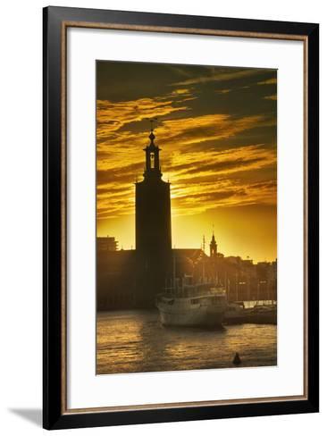Sunset behind Stadshuset Bell Tower in Stockholm-Jon Hicks-Framed Art Print