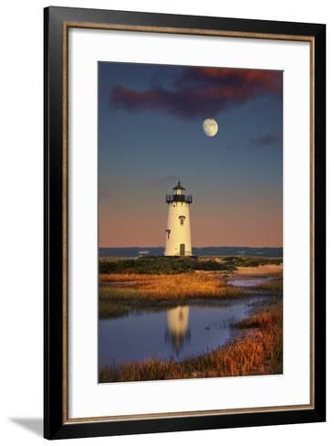 Edgartown Lighthouse at Dusk with the Moon Rising Behind-Jon Hicks-Framed Art Print