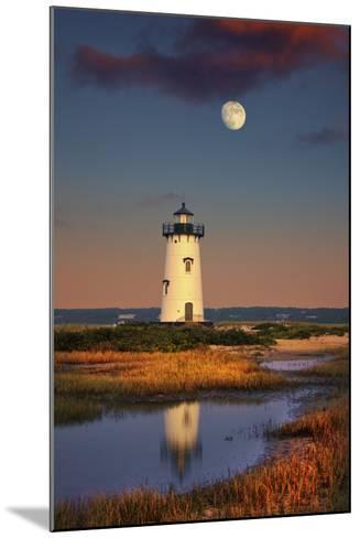Edgartown Lighthouse at Dusk with the Moon Rising Behind-Jon Hicks-Mounted Photographic Print