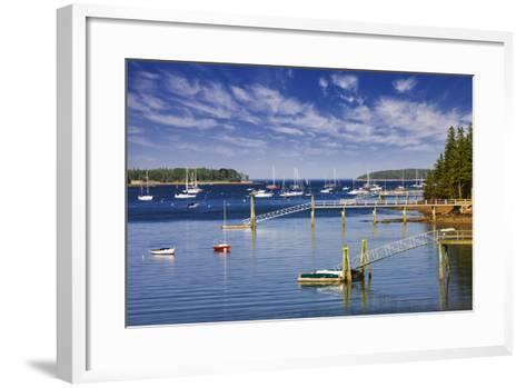 Yachts Moored near Southwest Harbor-Jon Hicks-Framed Art Print