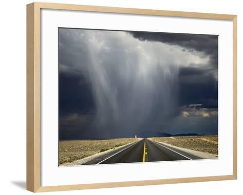 A Storm Crosses Highway 50, 'America's Loneliest Road'.-Jon Hicks-Framed Art Print