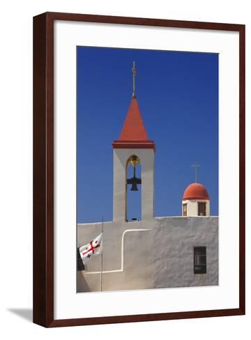 Flag of the Knights Templar at St. John's Church in Akko-Jon Hicks-Framed Art Print