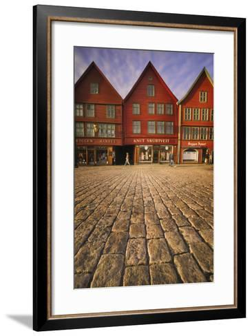 Row Houses in Bryggen-Jon Hicks-Framed Art Print