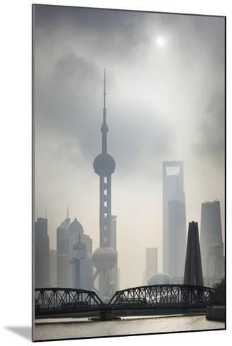 Pudong Skyline and Smog.-Jon Hicks-Mounted Photographic Print