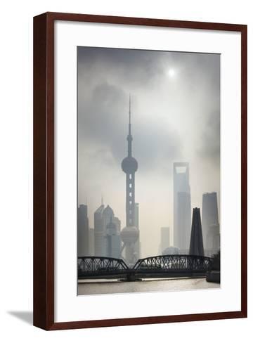 Pudong Skyline and Smog.-Jon Hicks-Framed Art Print