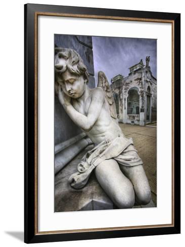 Angel Sculpture in Recoleta Cemetery in Buenos Aires-Jon Hicks-Framed Art Print