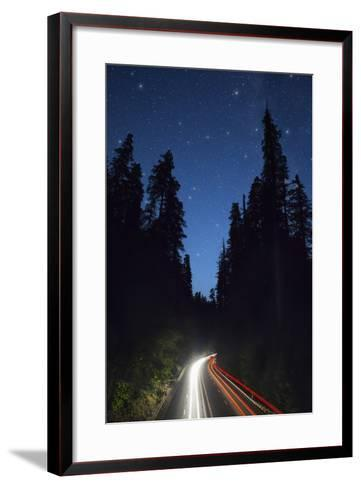Highway 101 and the Avenue of the Giants at Night.-Jon Hicks-Framed Art Print