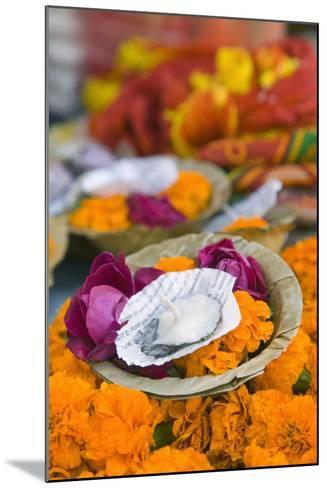 Flowers and Candle to Be Released during Ganga Aarti Ceremony-Jon Hicks-Mounted Photographic Print