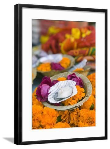 Flowers and Candle to Be Released during Ganga Aarti Ceremony-Jon Hicks-Framed Art Print