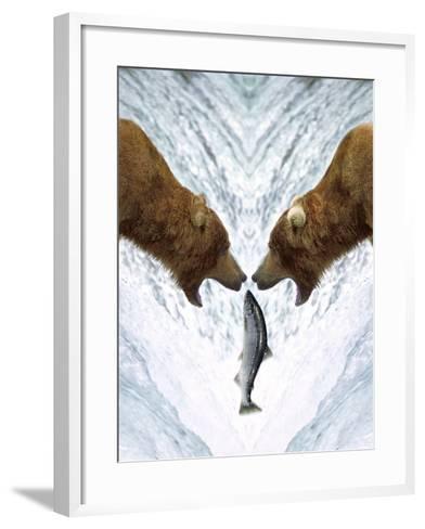 Grizzly Bears Catching Fish-DLILLC-Framed Art Print