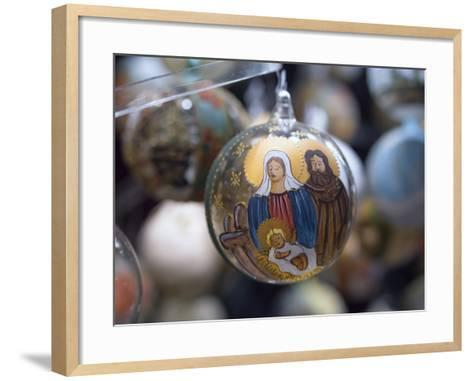 Baubles for Sale in the Viennese Christmas Market, Vienna, Austria.-Jon Hicks-Framed Art Print