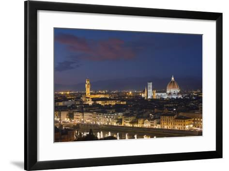Florence Skyline at Sunset.-Jon Hicks-Framed Art Print