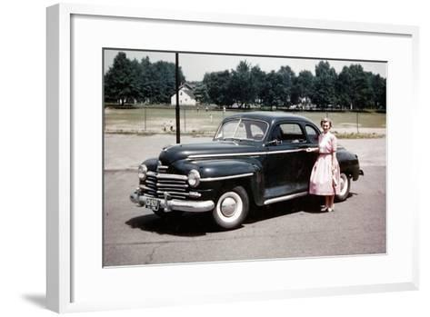 Young Woman Poses with Her Plymouth Automobile, Ca. 1951.-Kirn Vintage Stock-Framed Art Print