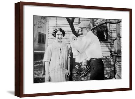Proud Parents Hold their Two Month Old Baby, Ca.1926.-Kirn Vintage Stock-Framed Art Print