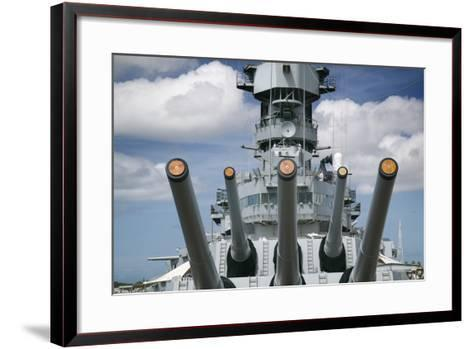 Gun Turret on the Battleship Missouri-Jon Hicks-Framed Art Print