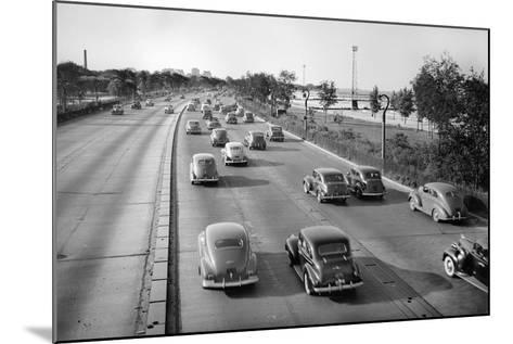 North Bound Lake Shore Drive in Chicago, Ca. 1946.-Kirn Vintage Stock-Mounted Photographic Print