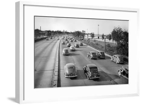 North Bound Lake Shore Drive in Chicago, Ca. 1946.-Kirn Vintage Stock-Framed Art Print