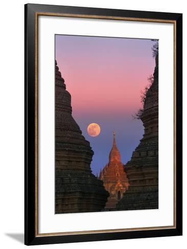 Moonrise over Bagan-Jon Hicks-Framed Art Print
