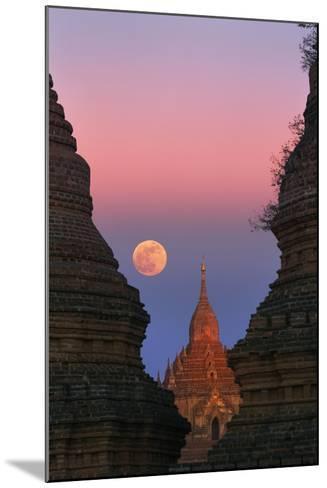Moonrise over Bagan-Jon Hicks-Mounted Photographic Print