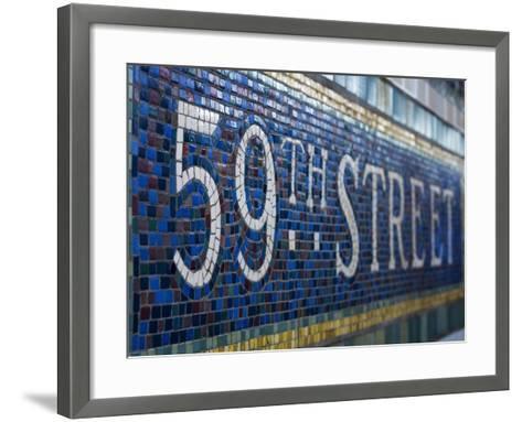 59Th Street Subway Station Sign.-Jon Hicks-Framed Art Print