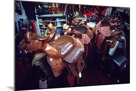 Leather Saddles in Ranchwear Store, Cheyenne, Wyoming, Usa, 1979-Alain Le Garsmeur-Mounted Photographic Print