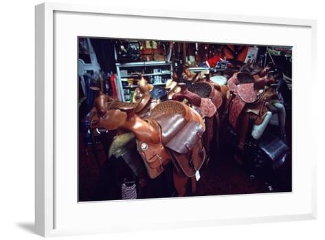 Leather Saddles in Ranchwear Store, Cheyenne, Wyoming, Usa, 1979-Alain Le Garsmeur-Framed Art Print