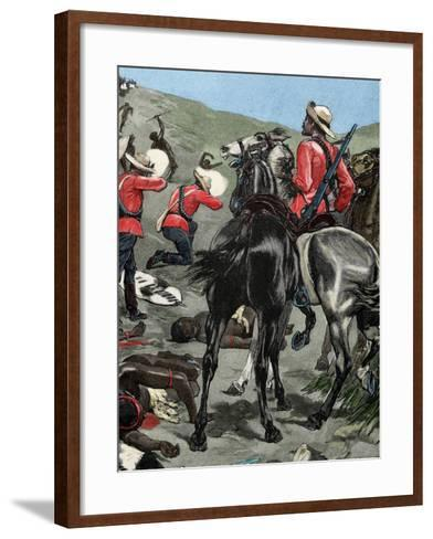 Anglo-Zulu War. Fought in 1879 between the British Empire and the Zulu Kingdom. Engraving. Colored.-Tarker-Framed Art Print